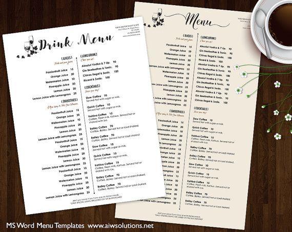 Drink Menu Templates, Printable Restaurant Menu Template, Wedding ...