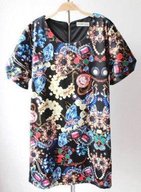 Black Vintage Print Short Sleeve Round Neck Dress [Black Vintage Print Dress] - $39.00 : EverMissFashion.com