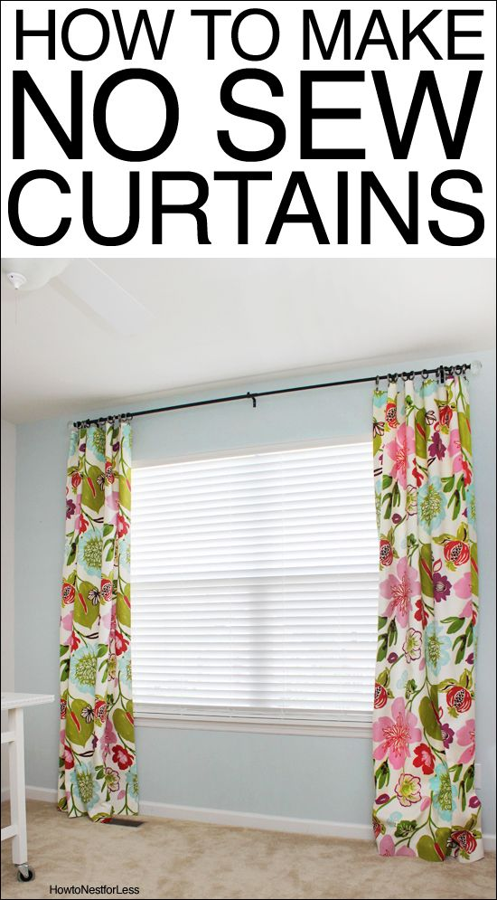 How to Make No Sew Curtains #diycurtains