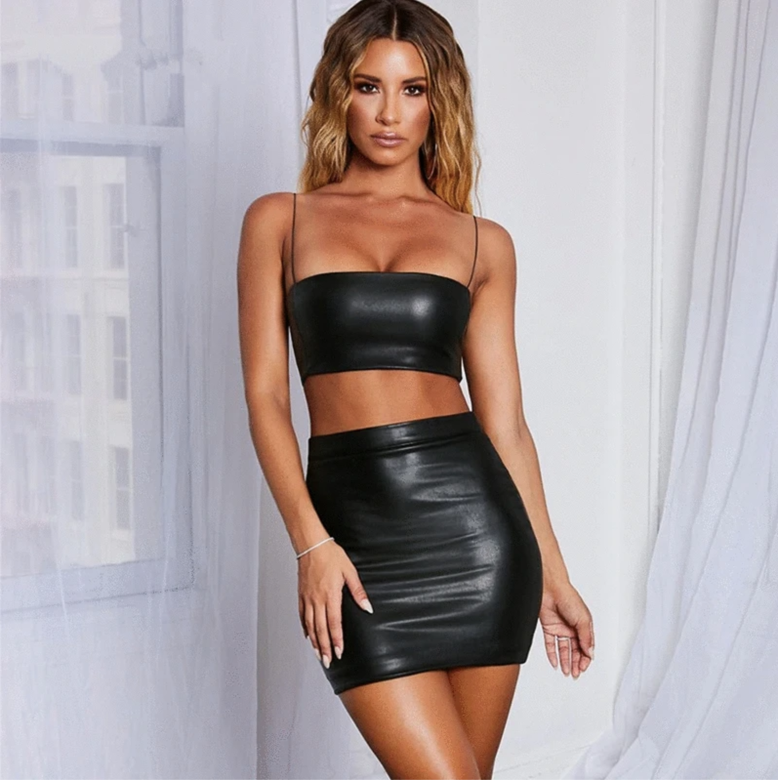Two Piece Outfit Black Leather Set