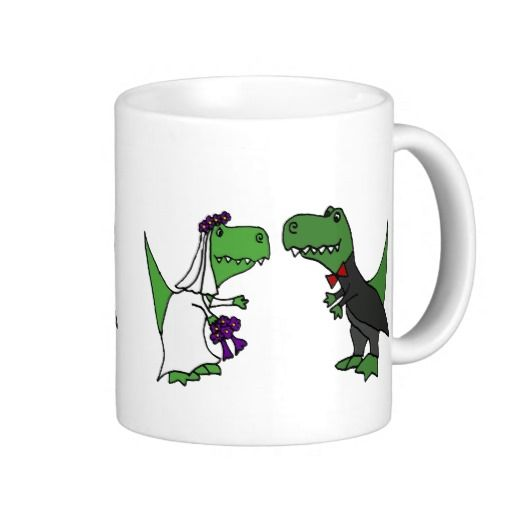 Funny T Rex Dinosaur Bride And Groom Wedding Art Coffee Mug Zazzle Com Wedding Art T Rex Humor Wedding Groom