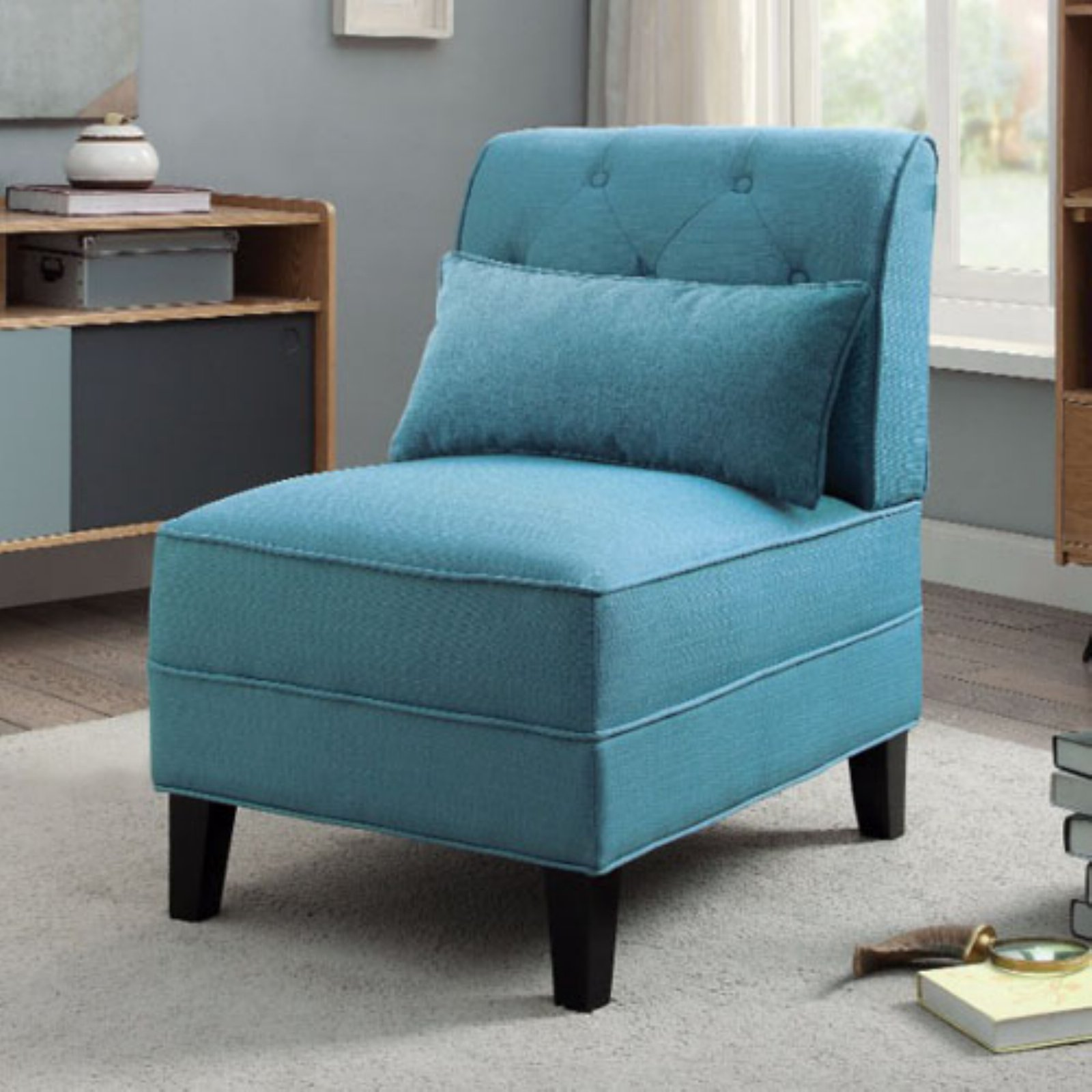 Best Benzara Tufted Armless Accent Chair With Pillow Light Blue 400 x 300