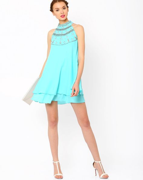 Buy AJIO Mint Green Layered Swing Dress online