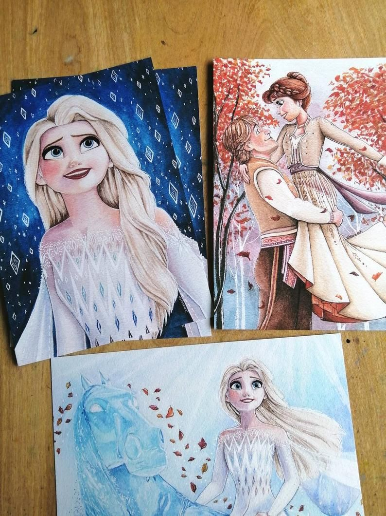 Original Disney Frozen 2 Watercolour Elsa Anna Kristoff Fine Art Print Home Decor Gift Elsa Show Yourself Into The Unknown Fifth Spirit Nokk Elsa Drawing Disney Princess Drawings Watercolor Disney