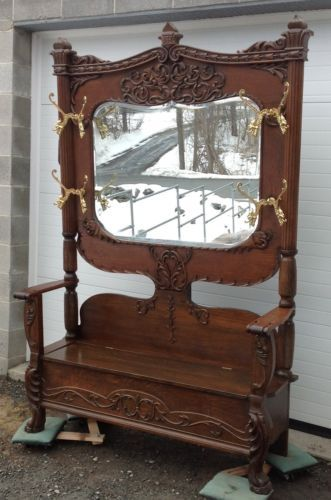 Victorian Carved Oak Hall Tree In Antiques Furniture