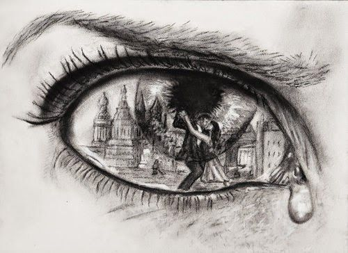 A Creative Idea Of City Inside Eye With Two People Dancing
