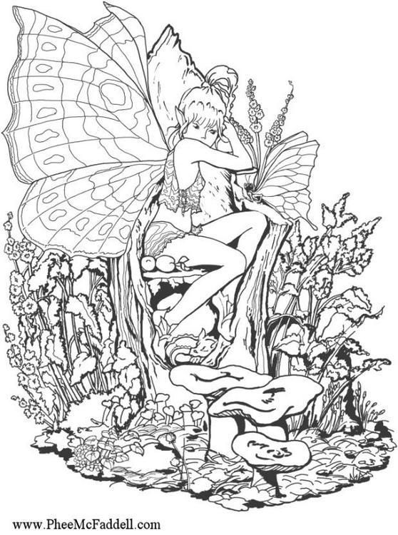 Coloring Girl Elf in the forest | LineArt: Fairyies | Pinterest