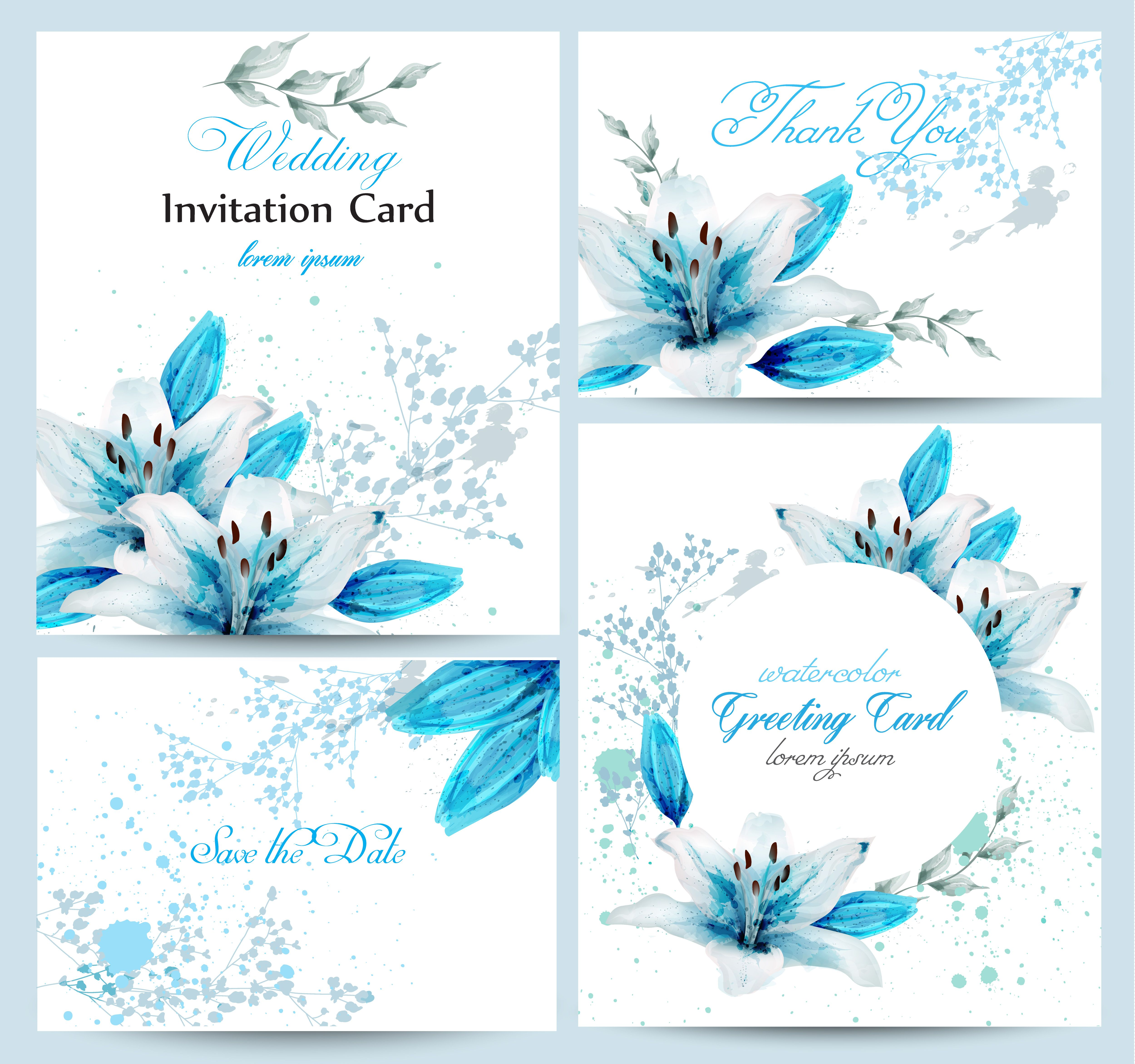 Blue lily watercolor flower blossom card set vector