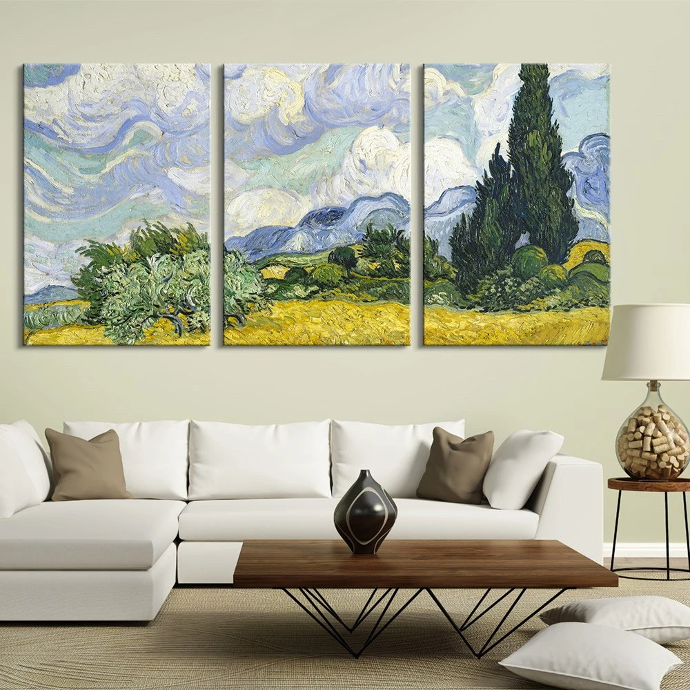 Wheatfield with Cypresses Vincent van Gogh Modern Canvas Art