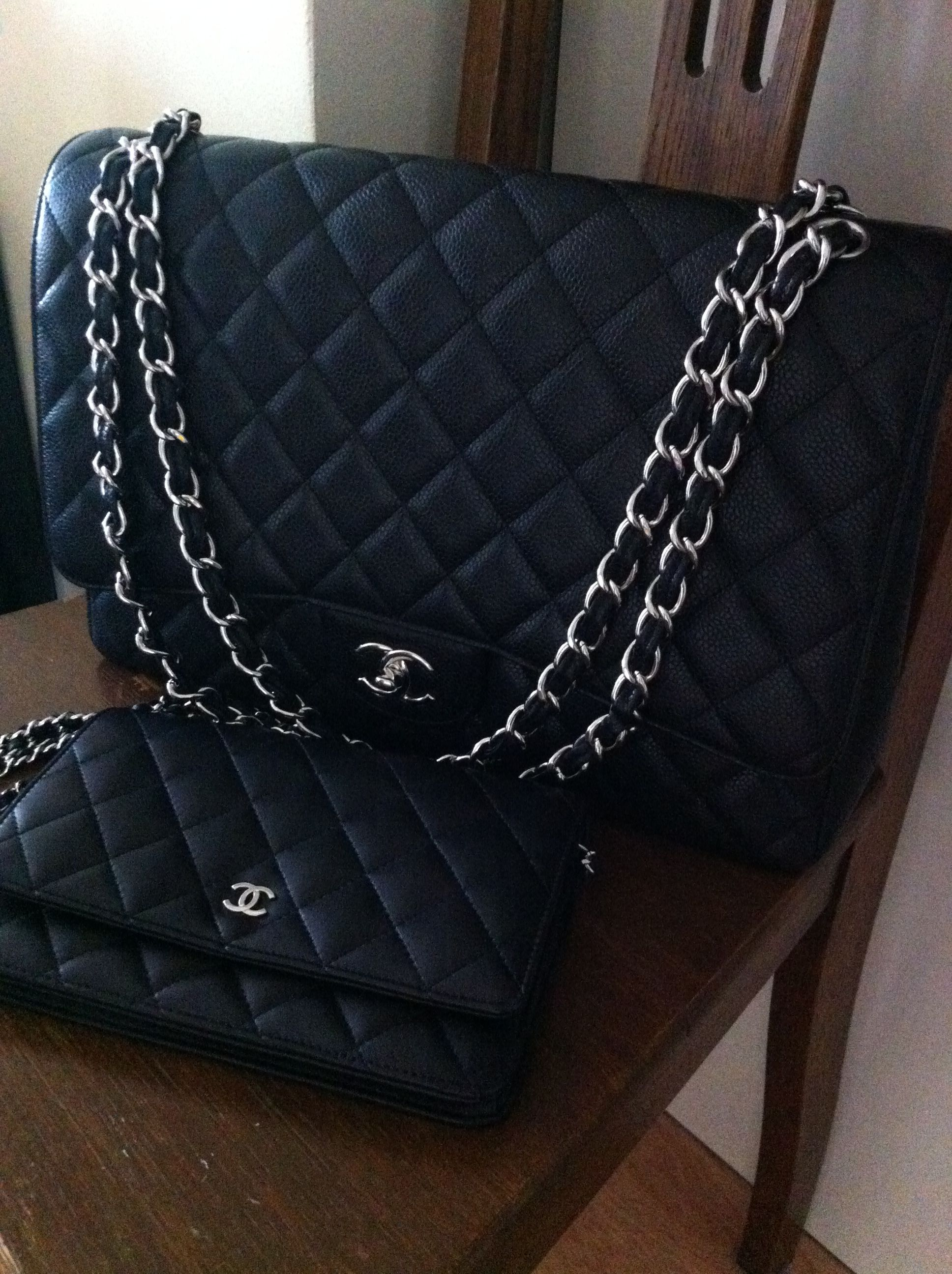 d864f9fbb428 My Chanel maxi classic flap in caviar leather with silver hardware and  wallet on a chain in lambskin with silver hardware. Love them!