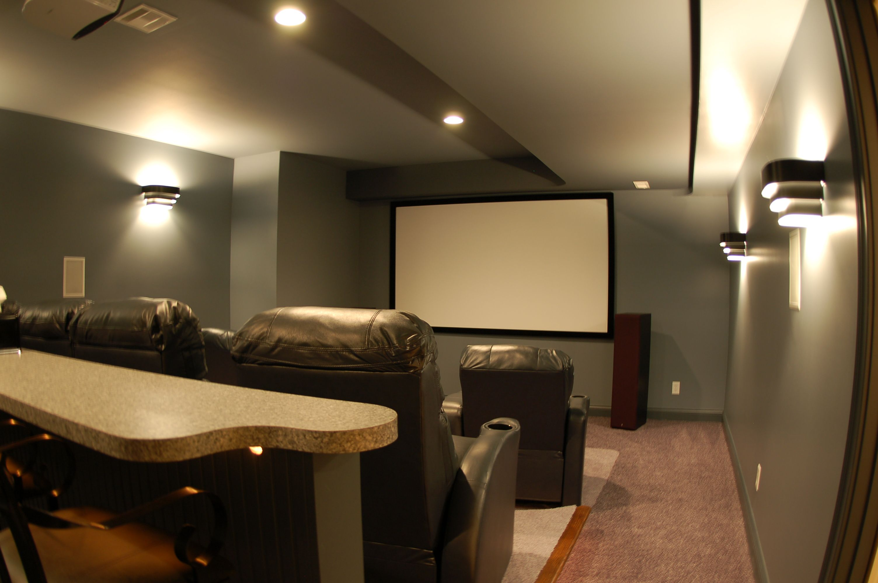 Step Up With Counter Behind Wall Sconces Small Home Theaters