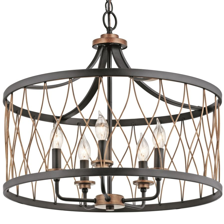 Farmhouse Kitchen Light Fixtures Lowes: Shop Kichler Lighting Brookglen 20.47-in W Black And Suede