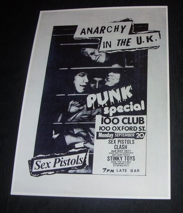 SEX PISTOLS Concert Poster 100 Club London 1976 Repro...