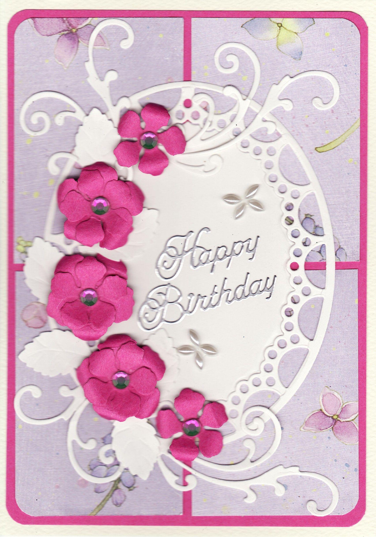 Happy birthday card with hand made flowers pinterest happy happy birthday card with hand made flowers izmirmasajfo