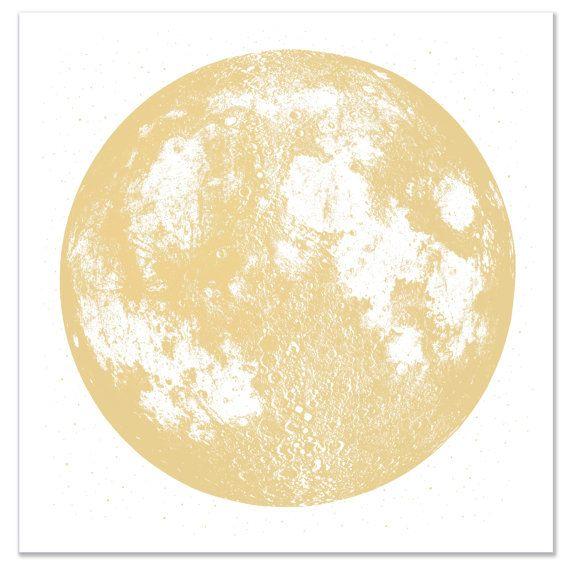 Bright Gold Moon Print, Square 22x22 large screenprint, metallic ink ...