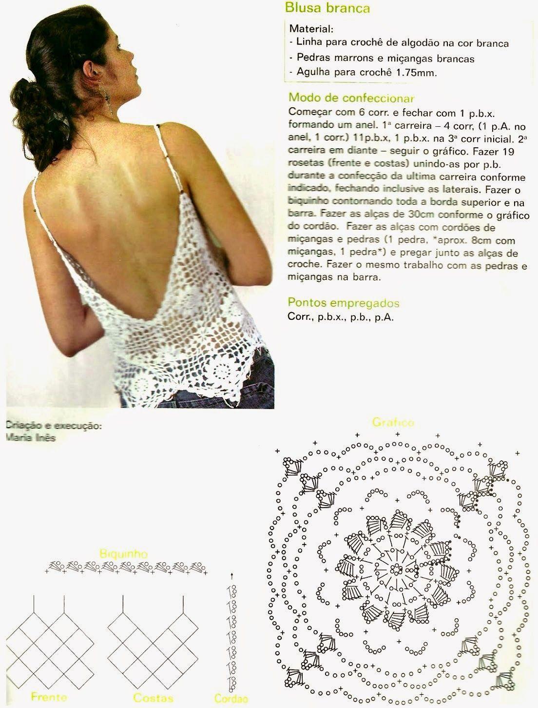 Top con dibujos y picos crochet - Patrones Crochet