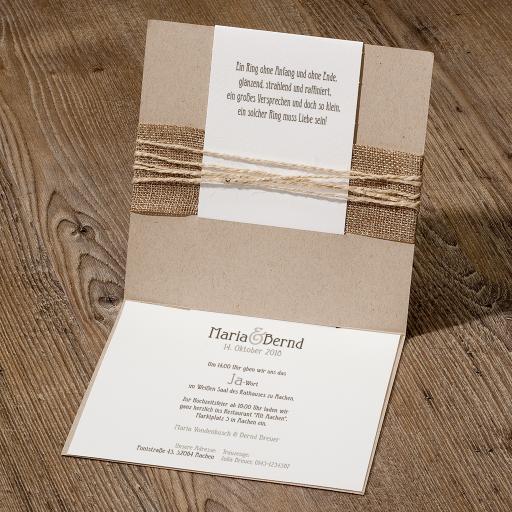 Hippe hochzeitseinladung auf packpapier mit jute banderole for Pinterest hochzeitseinladung