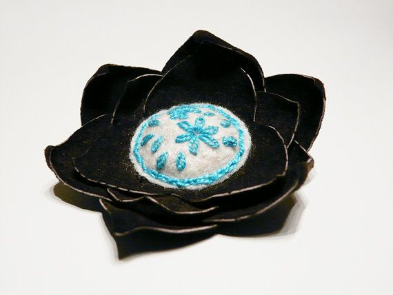 Felt and leather flower brooch Brown White by myRainbowWorld, $17.00