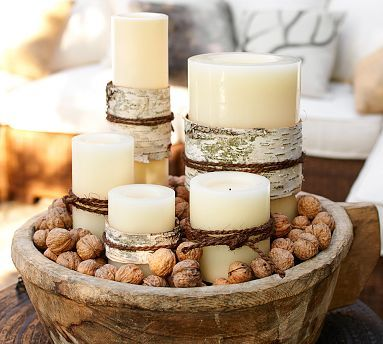 Flameless Outdoor Candle Potterybarn Walnuts In Shells As Wooden Bowl Filler And Birch To