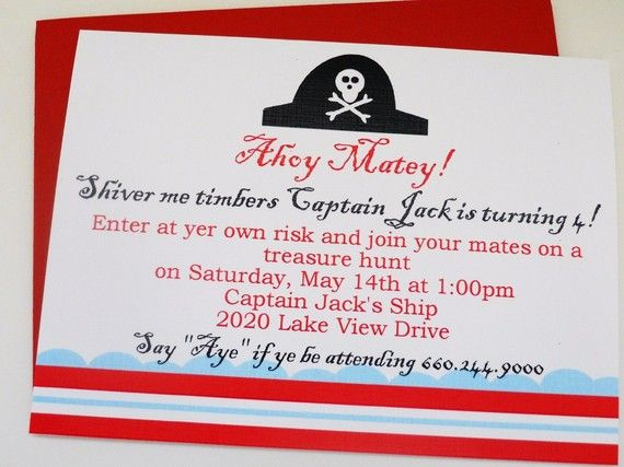Invitation wording rsvp part or else walk ye plank put – What to Put on a Birthday Invitation