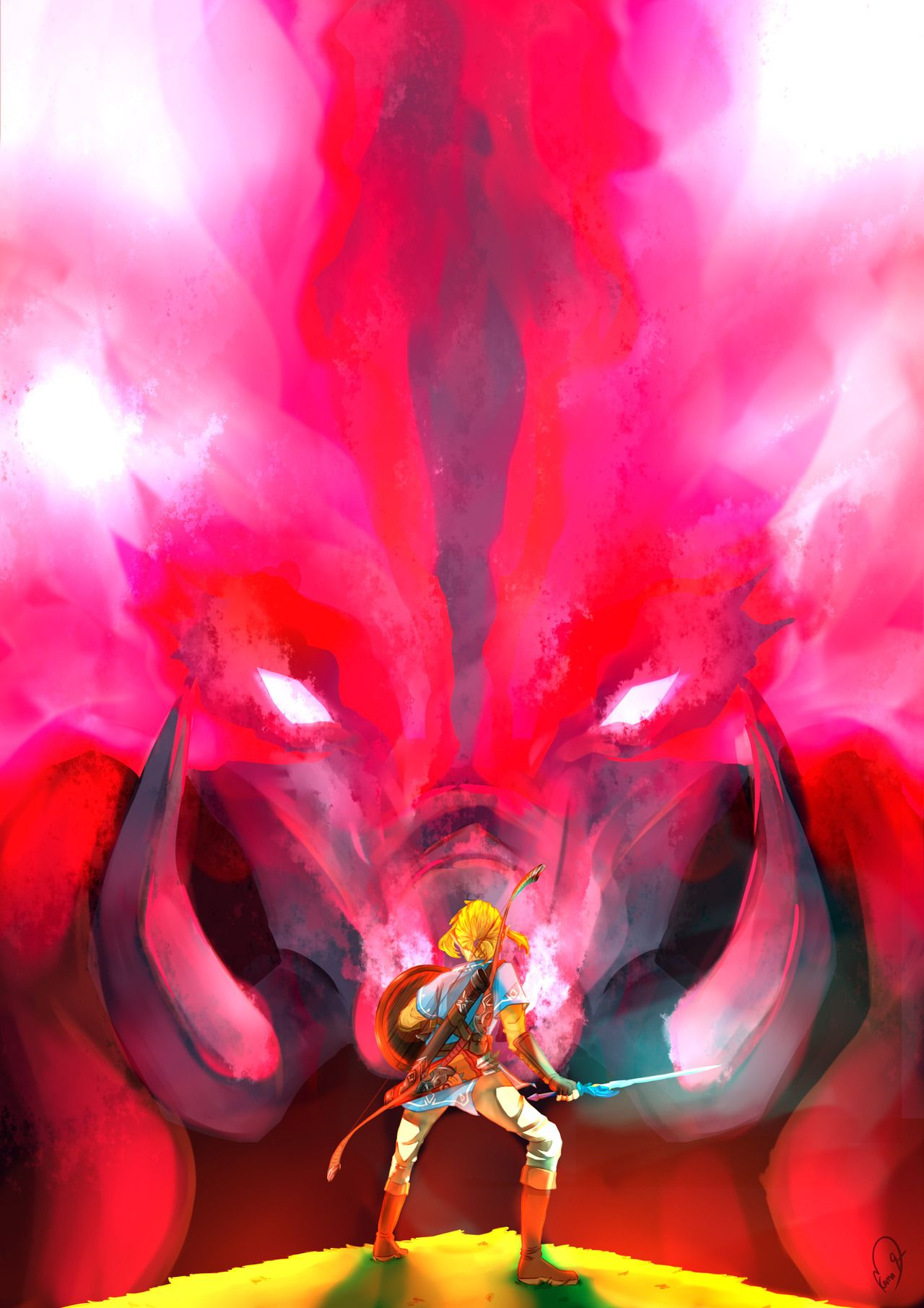 Link Facing Dark Beast Ganon Legend Of Zelda Legend Of
