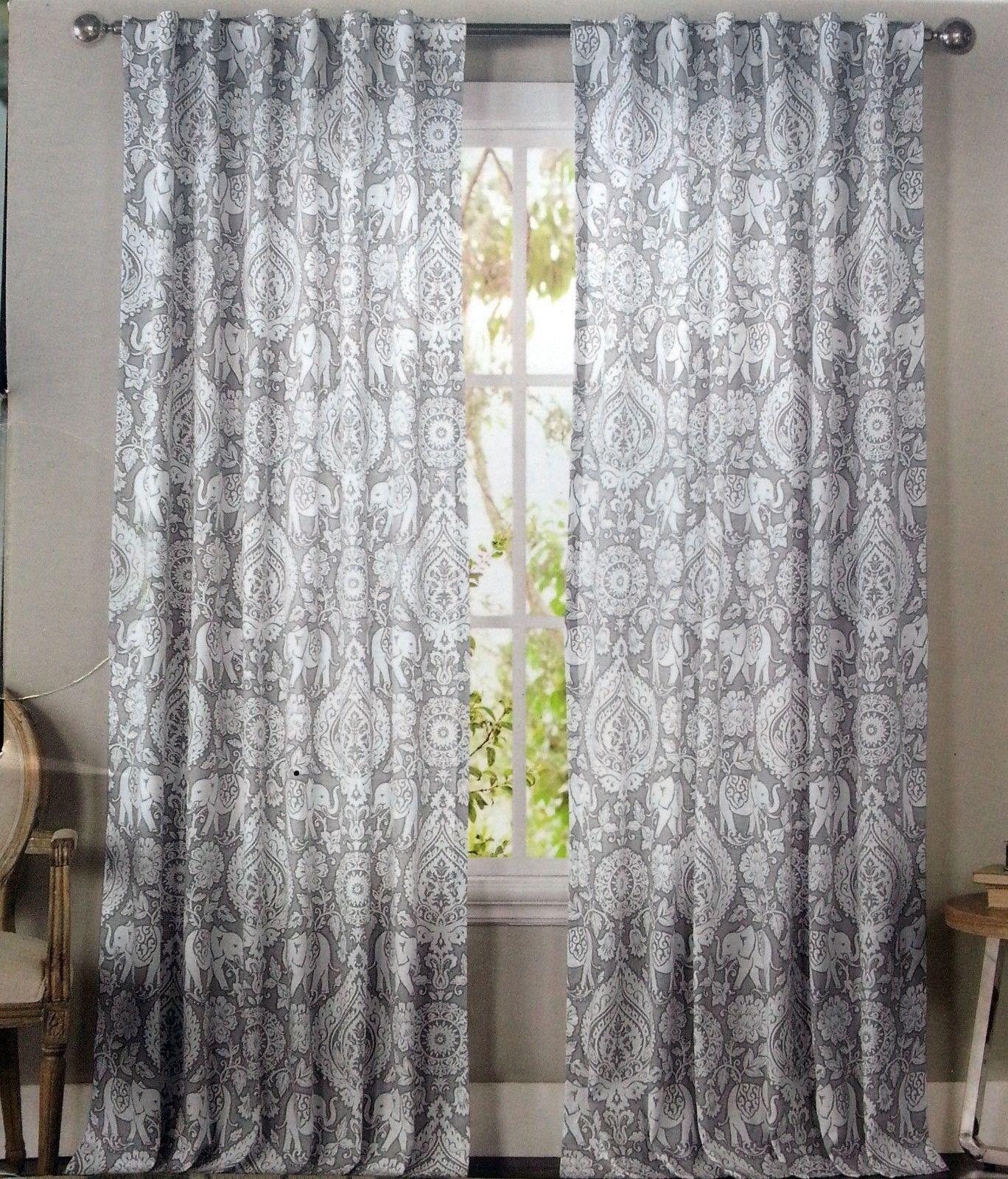 Mandala Elephant Pair Window Panels 50 By 96 Inch Set Of 2 Floral
