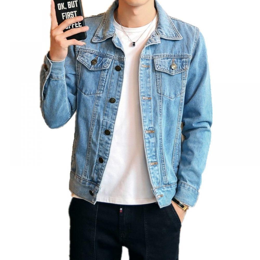 Olome Fashion Solid Denim Jacket Mens Spring Casual Slim Fit Bomber Jackets Men Jean Jacket Mens Outw Denim Jacket Men Denim Jacket Fashion Jackets Men Fashion [ 1000 x 1000 Pixel ]