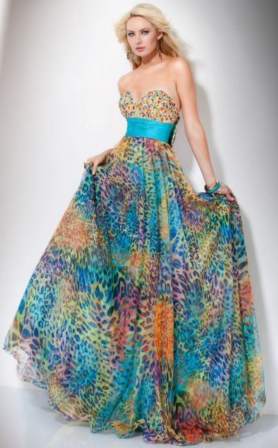 Jovani Colorful Animal Print Tulle Ball gown Prom Dress 71537- I wish they  had dresses like this when I had Prom. 9a765e7f5