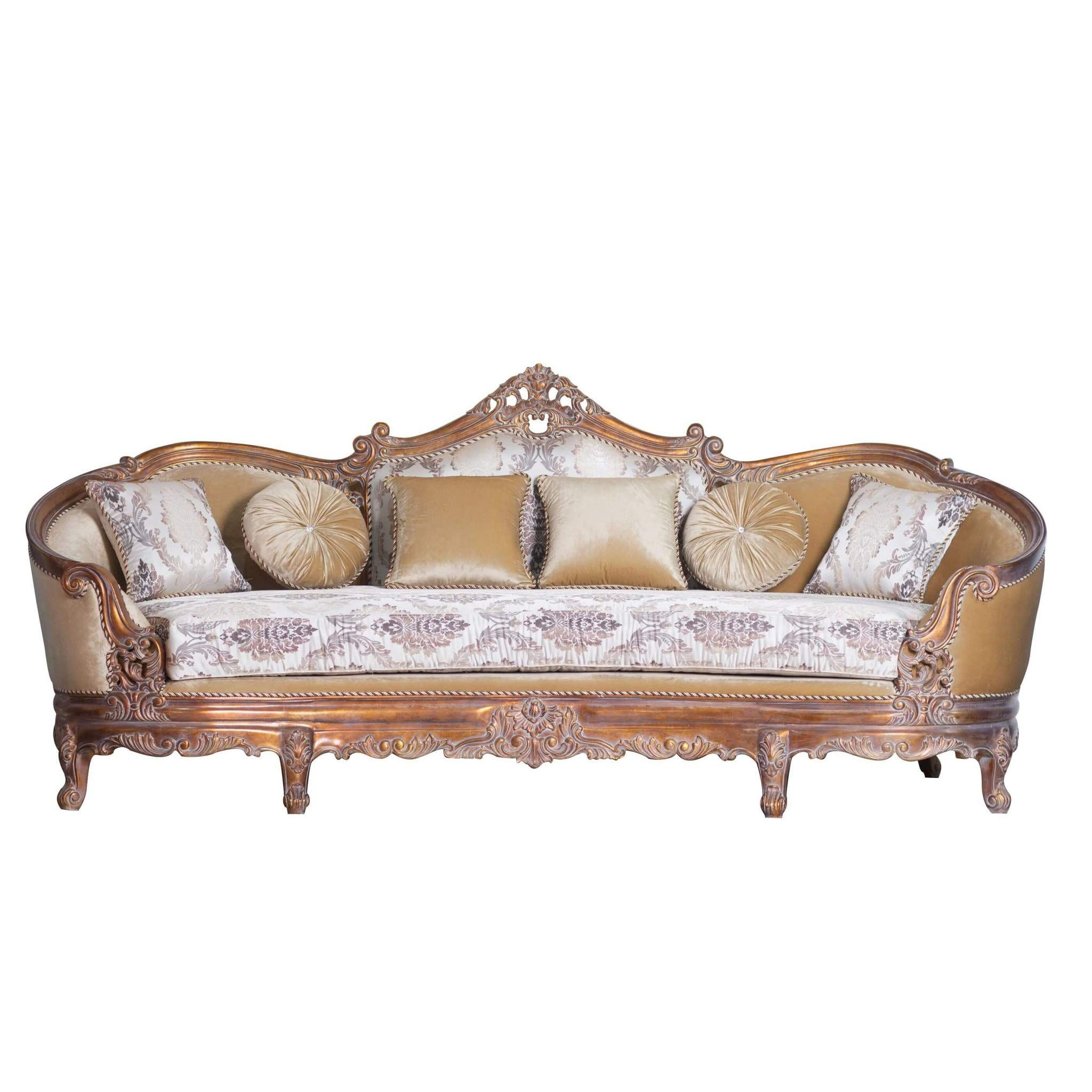 Benjara Wooden Aesthetic Carving Details Curved Sofa Furniture Victorian Sofa