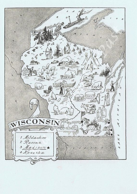 Reserved For Erin Vintage Maps Maps Of Wisconsin Pinterest