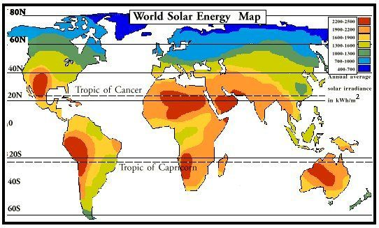 The World Solar Energy Map Showing The Global Solar Resource - World sunlight map