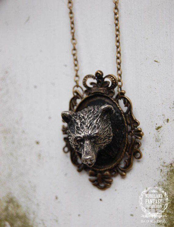 Woodland Fantasy Whimsical Mounted Cameo Bear Necklace www.seaofbeesjewelry.com #etsy #jewelry #handmade #lux #luxfrontiercollection #woodland #woodlandfantasycollection  #fox #deer #bear #bird #moose #antler #ring #brooch #necklace #geometric #triangle #handmadejewelry #native