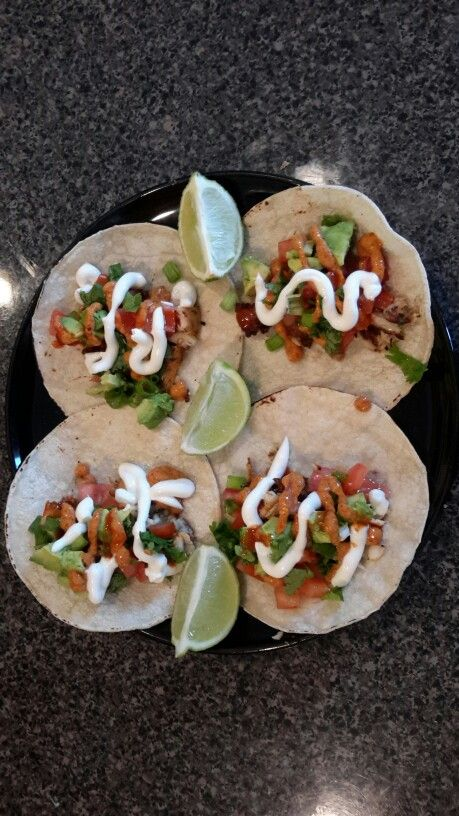 Tilapia fish tacos with the works