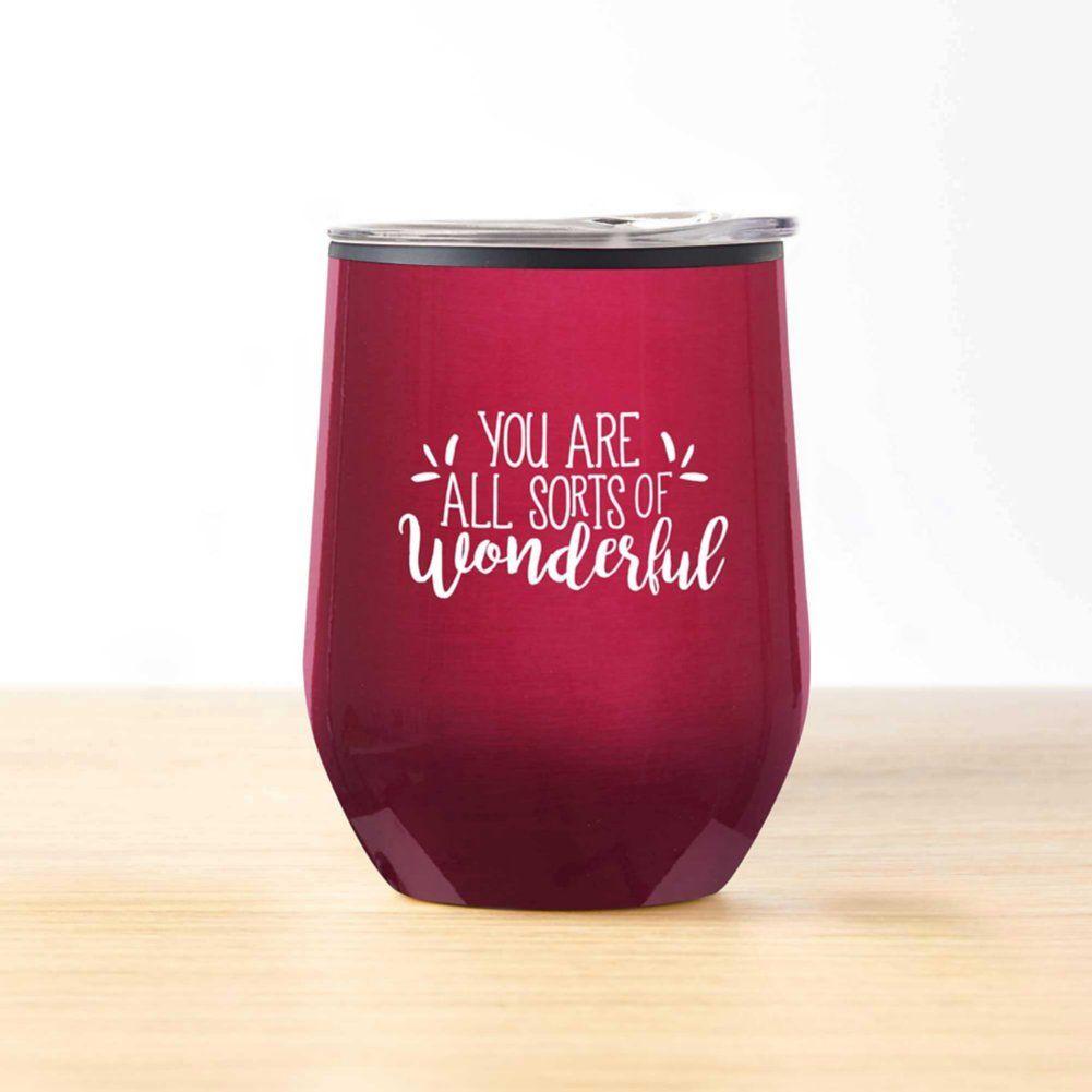 Cheers Wine Tumbler All Sorts Of Wonderful In 2020 Wine Tumblers Wine Drinkware Design