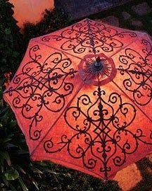 stenciled umbrella  http://www.facebook.com/pages/Suzi-Homefaker/157277567665756