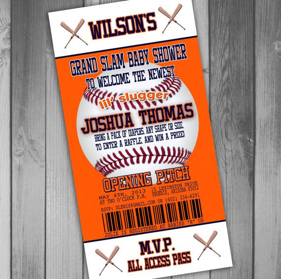 Printable Birthday Party Invitation Card Detroit Lions: Detroit Tigers Inspired Baseball Baby Shower By