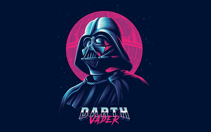 Download Wallpapers Darth Vader Star Wars Art Characters Retro Synthpop Retrowave Besthqwallpapers Com Star Wars Illustration Vader Star Wars Star Wars Pictures