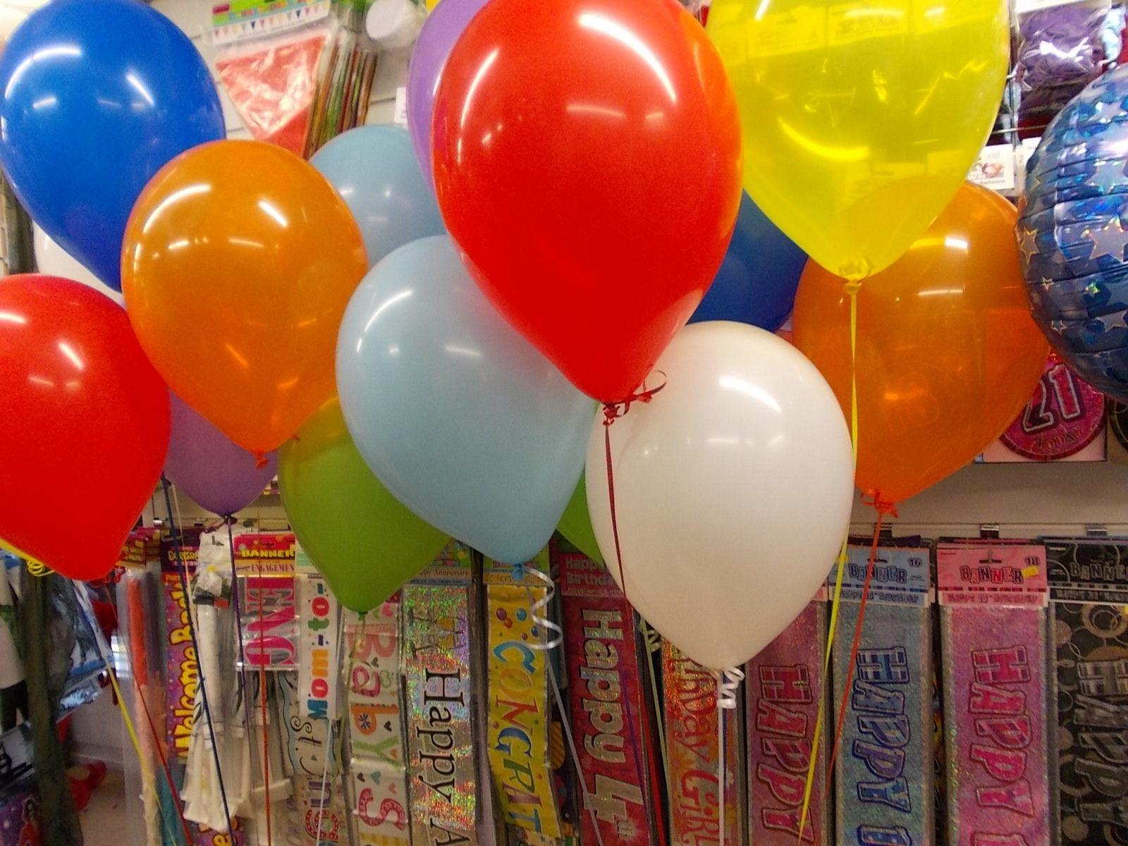 Birthday - These were for a 10 years old boy, two bunches of bright colour balloons and a blue foil balloon which  is not on this pic.
