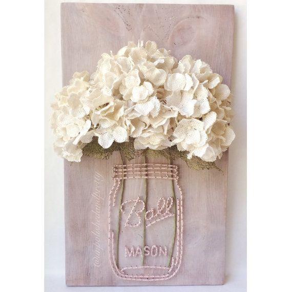 art string personnalis mason jar avec fleurs de faux pot. Black Bedroom Furniture Sets. Home Design Ideas