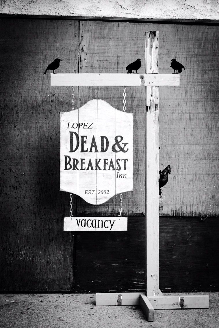 Dead Amp Breakfast Halloween Hanging Sign By Gluteusmaximus