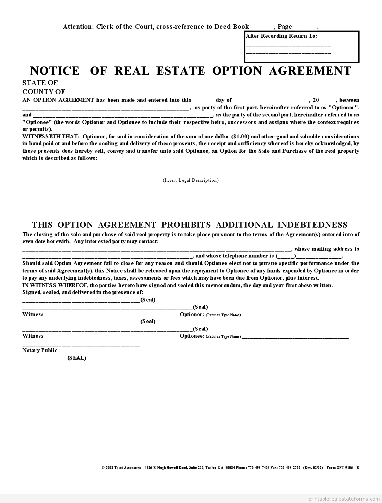 Printable Affadavit Memorandum Of Option 1 Party Agreement Template