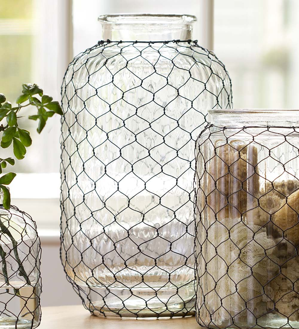 Large pickle jar chicken wire glass vase collection for Chicken wire craft ideas