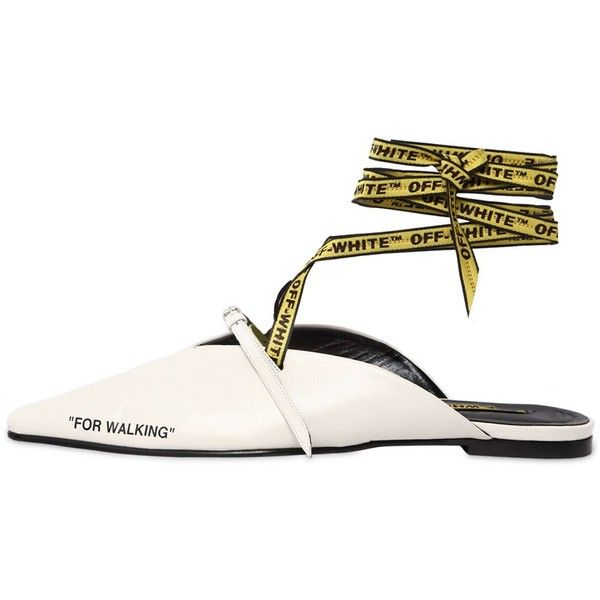 b40d0586f Off White Women 10mm For Walking Leather Lace-up Mules ($930) ❤ liked on  Polyvore featuring shoes, off white, strappy shoes, logo shoes, tie shoes,  flat ...