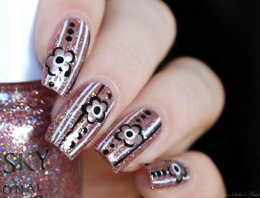Rose gold glitter nails flower nail art stripes nail design #nailart ...