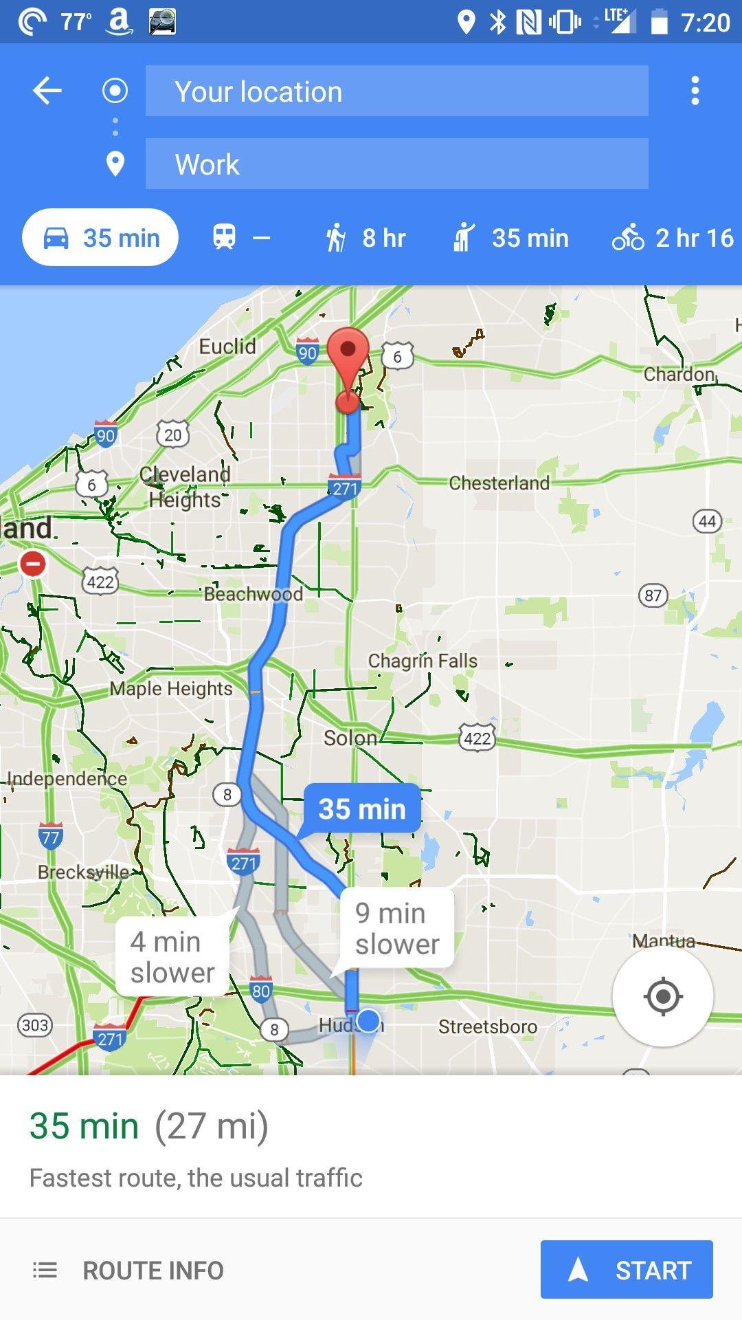 Google maps route options | Good App Designs