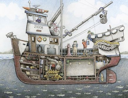 This Is A Cutaway Drawing Of A Northwest Seine Boat On A