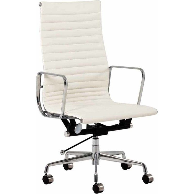 Replica Eames High Back Leather Office Chair White Boardroom Chairs