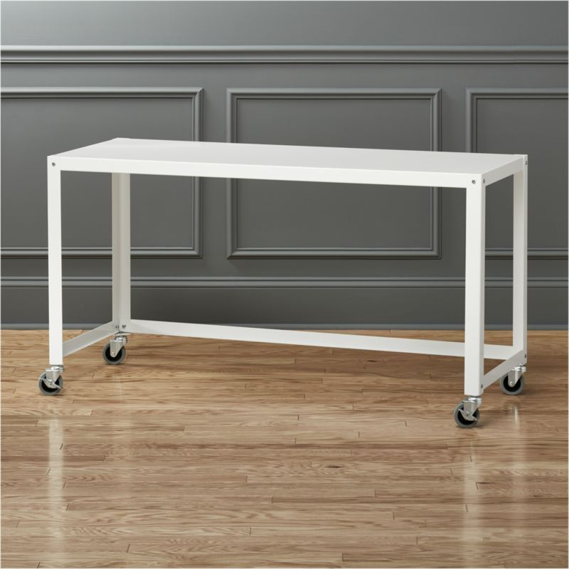 Go Cart White Rolling Desk Reviews Cb2 Office Furniture Modern White Console Table Rolling Desk