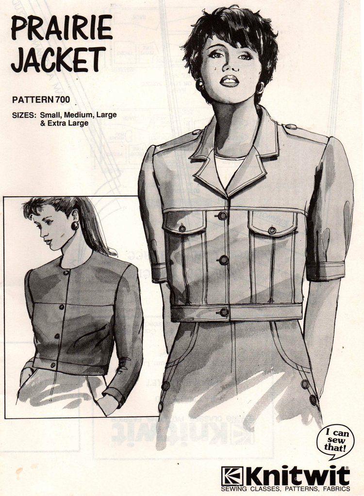 Knitwit 700 Womens Stretch Prairie Jacket 90s Vintage Sewing Pattern ...