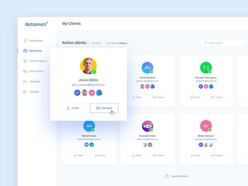 Dashboard Design My Clients Screen Wip Dashboard Design User